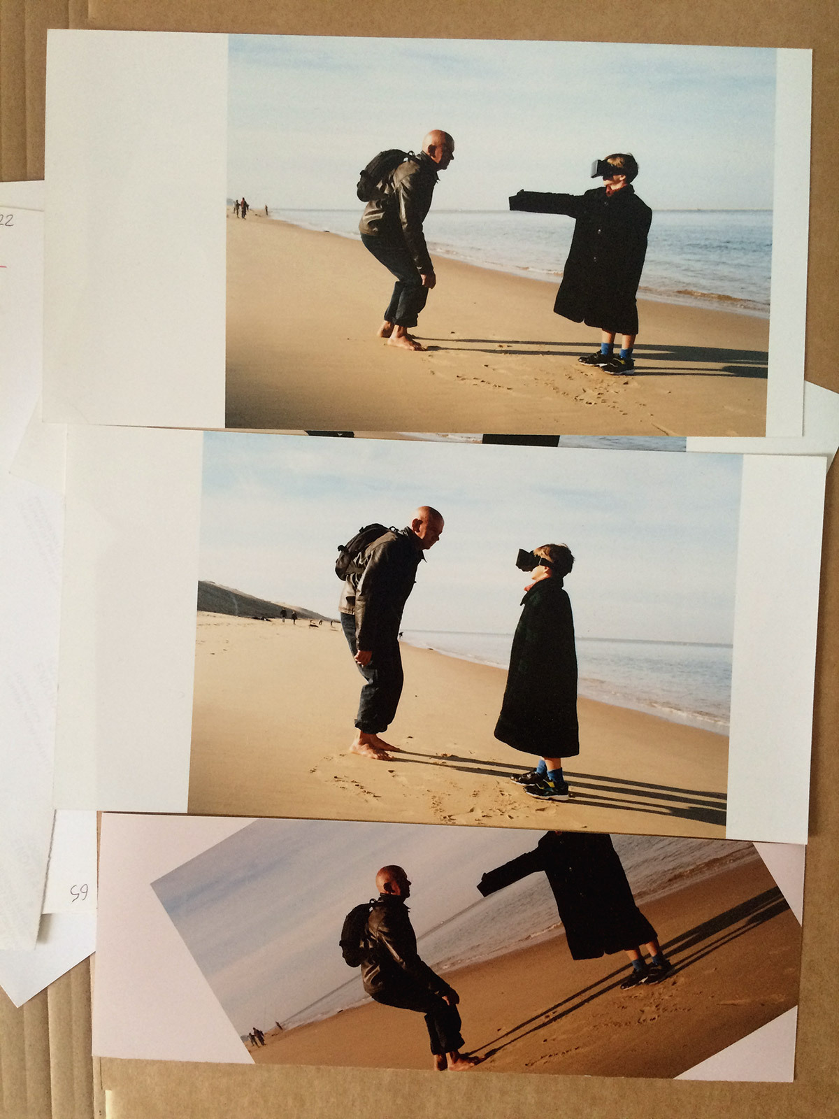 My father, Tatus, and my little brother fooling around with reality on the Dune du Pilat beach, published in an editorial for* M le Monde*. *{Styling by Anna Schiffel. Photo assistant : François Briens}* - © Maciek Pożoga