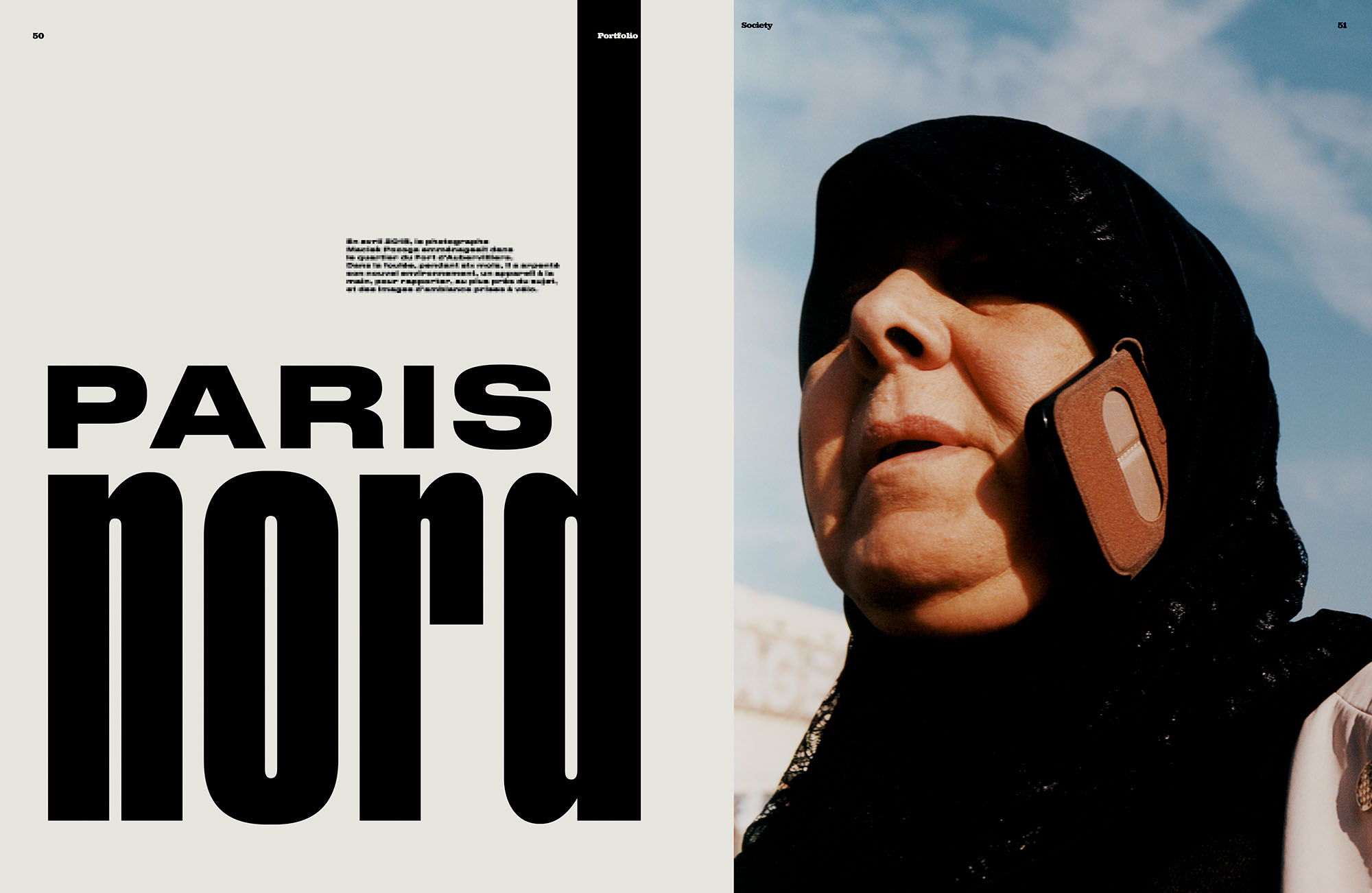 A ten-page portfolio published in *Society magazine*. All images are from my recent project *Paris Nord*. Full project visible in the *Studies* section of this website. - © Maciek Pożoga