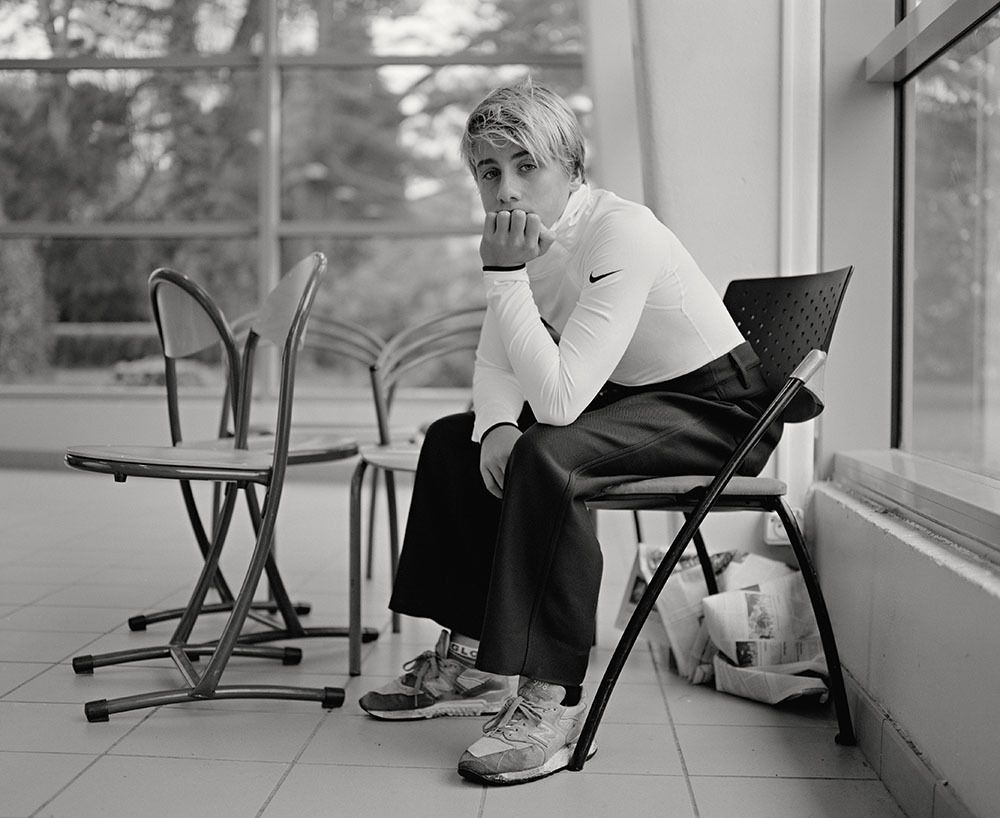 """I photographed young surf champion Titouan Canevet, at his """"sport-étude"""" highschool in Finistère, for the French edition of *i-D magazine. * *{Styling by Xenia May Settel. Photo assistant : François Briens}* - © Maciek Pożoga"""